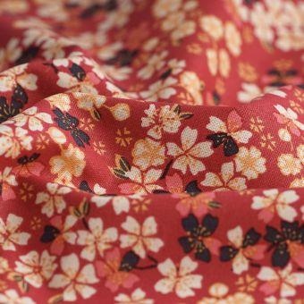 Tissu cretonne rouge fleurs de cerisier