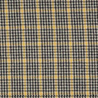 Tissu lainage pied coq beige et jaune