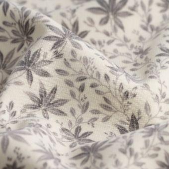 Tissu polaire alpfleece fleurs grises