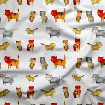Tissu triple gaze coton bio chats - Panda Love
