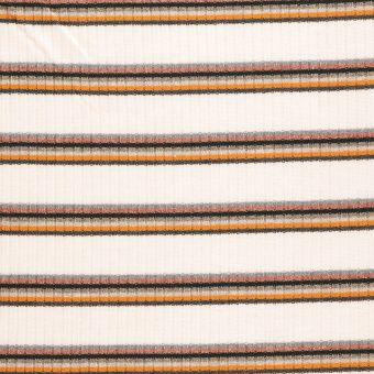 Tissu côtelé écru à rayures multicolores