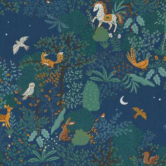 Tissu ottoman premium motifs animaux de forêt