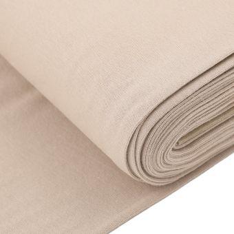 Tissu jersey bord-côte tubulaire beige