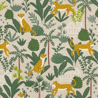 Tissu coton épais tigres dans la forêt vert