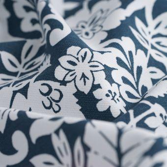 Tissu coton épais bleu fleurs animaux