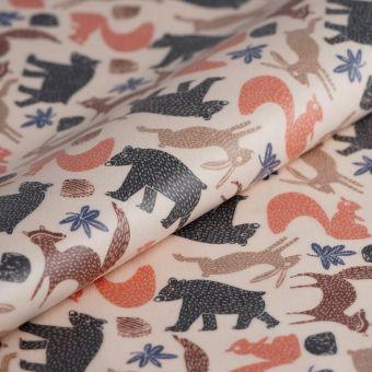 Tissu ottoman enduit pvc animaux de la forêt