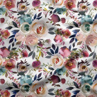 Tissu PUL pour couches lavables bouquets de fleurs rose - La Panda Love Fabrics