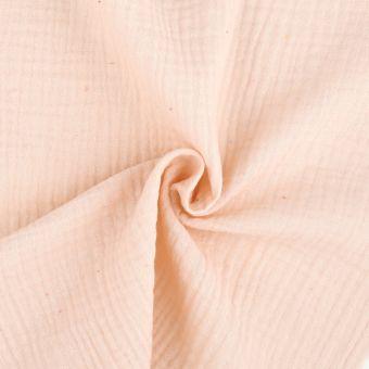 Tissu double gaze coton rose clair