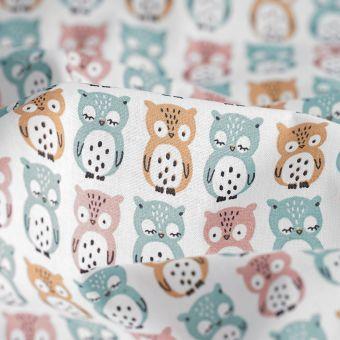 Tissu coton blanc chouettes colorées