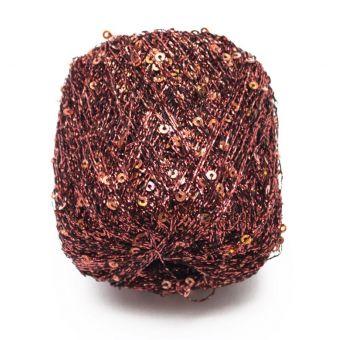 Pelote à tricoter brillante pluie d'étoiles rouille - Plassard