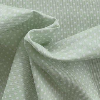 Tissu piqué de coton motifs pois vert