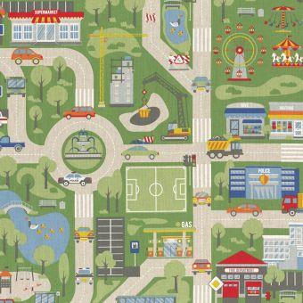 Tissu coton épais city map multicolore
