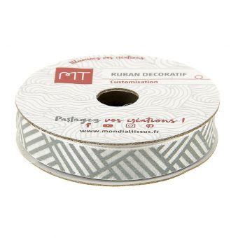 Bobine ruban satin géométrique gris et blanc 10 mm