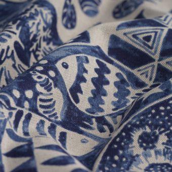 Tissu coton épais bleu poissons