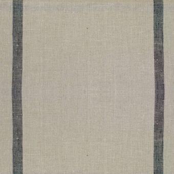 Tissu toile torchon 100% coton écru rayé gris