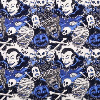 Tissu coton popeline vampire bleu