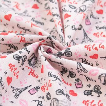 Tissu cretonne en coton rose à motifs Paris coeur