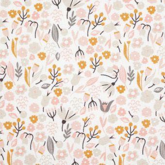 Tissu coton fleurs roses et grises