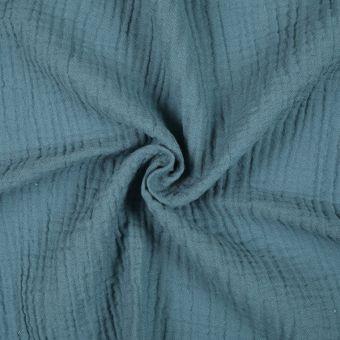Tissu double gaze coton vert foncé