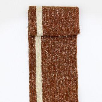 Bord côte et bas de blouson lurex rayé marron