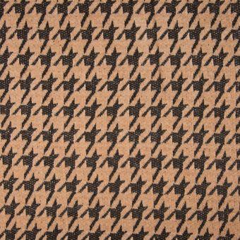 Tissu chenille pied de poule camel