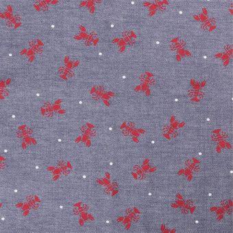 Coupon de tissu bleu jean homard