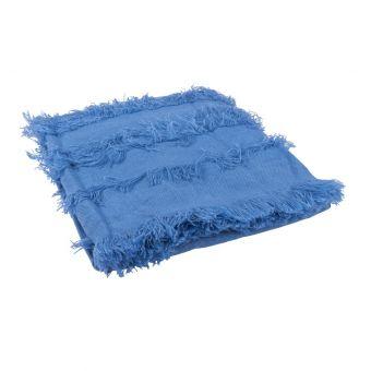 Plaid à franges bleu