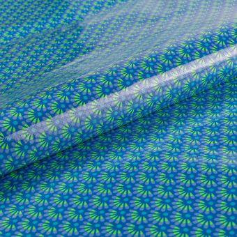 Tissu Petit Pan coton enduit brillant bleu outremer à motifs japonisants zazen