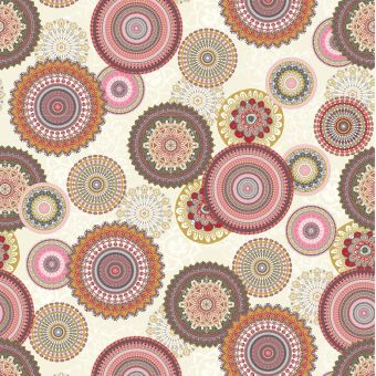 Tissu ottoman mandala rose