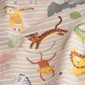 Tissu coton épais animaux rigolos