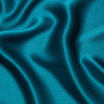 Tissu satin de soie bleu pétrole uni 100% Italie