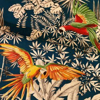 Tissu coton imprimé Perroquets Mania vert jaune