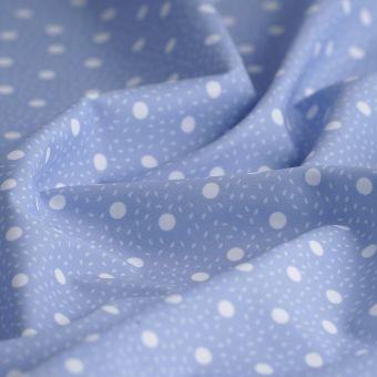 Tissu maillot de bain bleu pois blancs