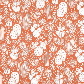 Tissu coton enduit cactus orange