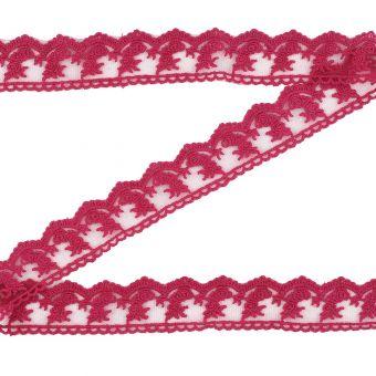 Ruban dentelle rose framboise fleurs 32 mm