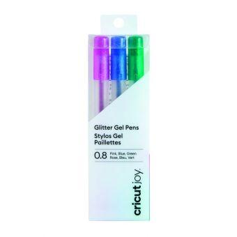 Cricut Joy 3 stylos gel paillettés 0.8 mm rose - bleu - vert