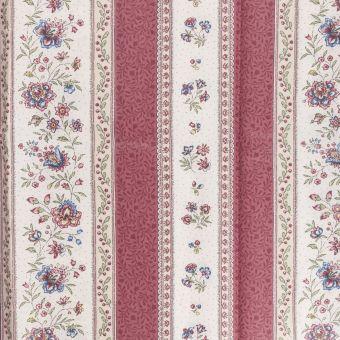 Tissu provençale cretonne enduite beaucaire rayée bordeaux
