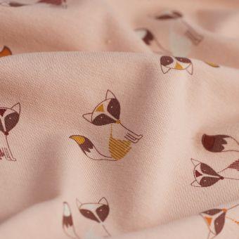 Tissu jersey coton renard rose
