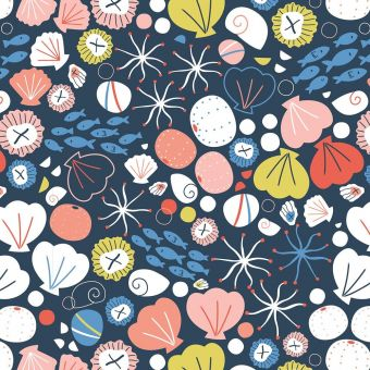 Tissus popeline de coton Dashwood motifs coquillages bleu