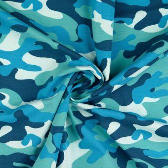 Tissu jersey coton camouflage bleu