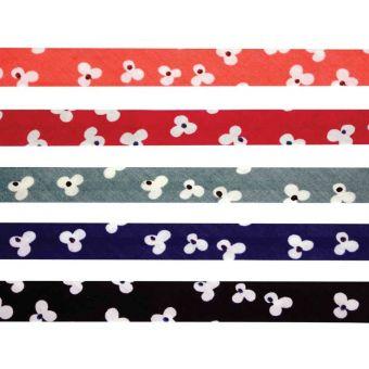 Lot 5 biais coton 1cm x 1m fleurs élégantes