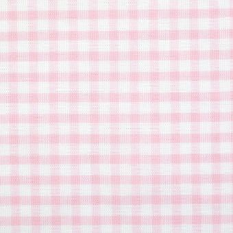 Tissu coton vichy rose et blanc