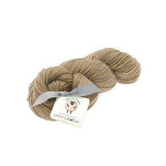 Fil à tricoter laine et lin marron