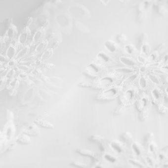 Tissu organza polyester écru fleur