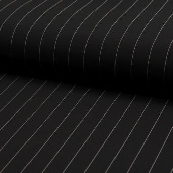 Tissu gabardine polyester stretch noir à rayures fines espacées