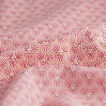 Tissu cretonne Riad corail hexagone