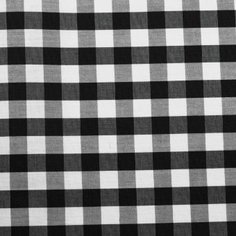 Popeline coton mercerise motif vichy 10 mm noir
