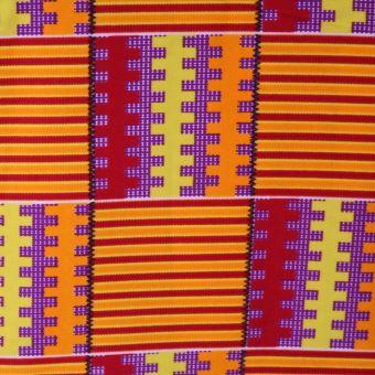 Tissu kente orange, rouge et jaune - Karabashop