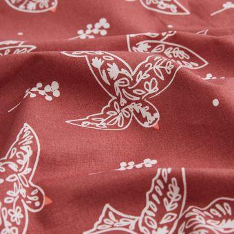Tissu toile à drap oiseaux rose