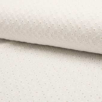 Tissu coton à broderie anglaise mini pois écrus